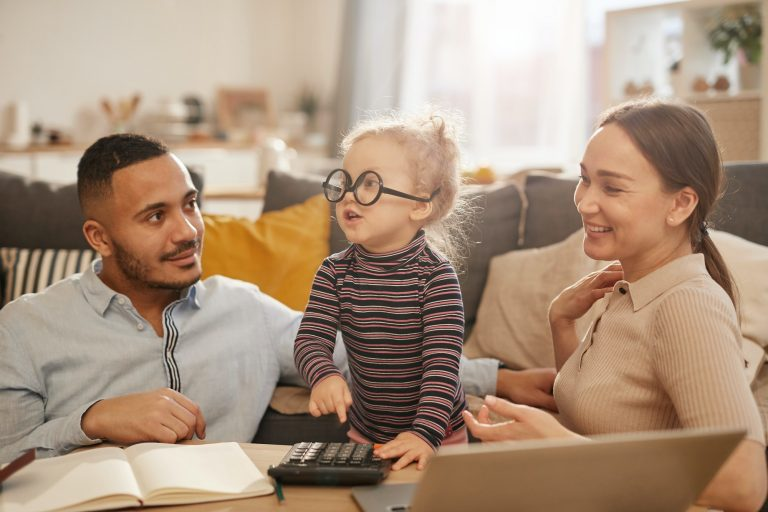 Young Family Working on Home Finances