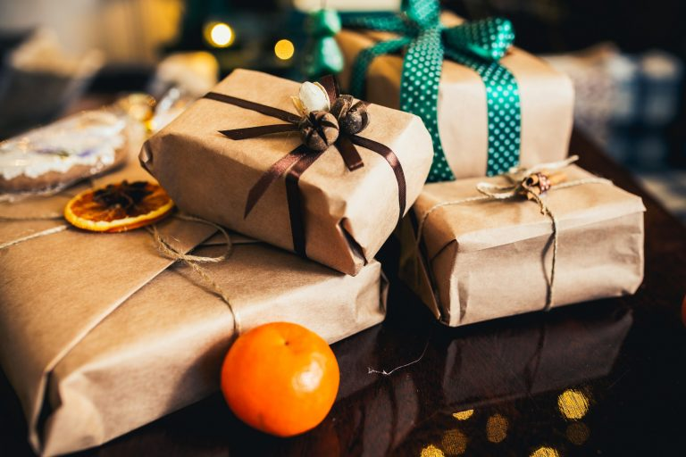 gifts lie on wooden table